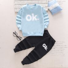 Toddler Boys Letter Graphic Sweatshirt With Sweatpants