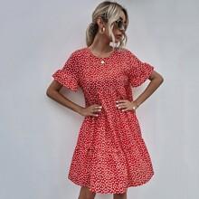 Flounce Sleeve Ditsy Floral Smock Dress