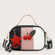 Fruit Decor Color Block Satchel Bag