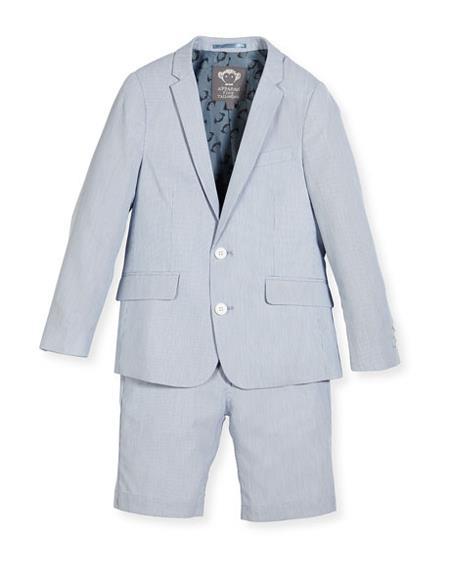 Men's Two Piece Striped Seersucker Light Blue Long sleeves Short Suit