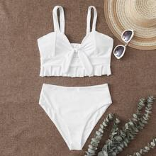 Bikini Badeanzug mit Knoten vorn und Raffungsaum