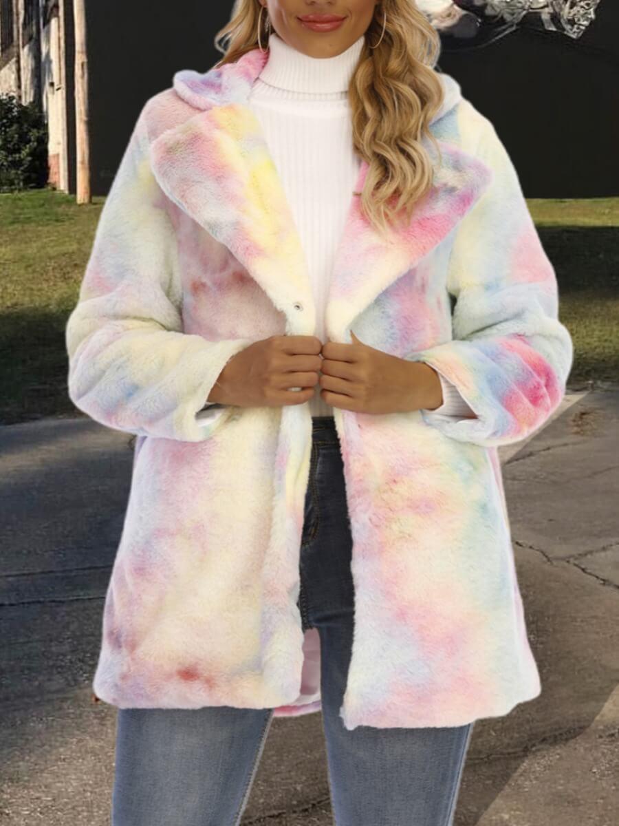 LW Lovely Trendy Turndown Collar Tie-dye Multicolor Faux Fur