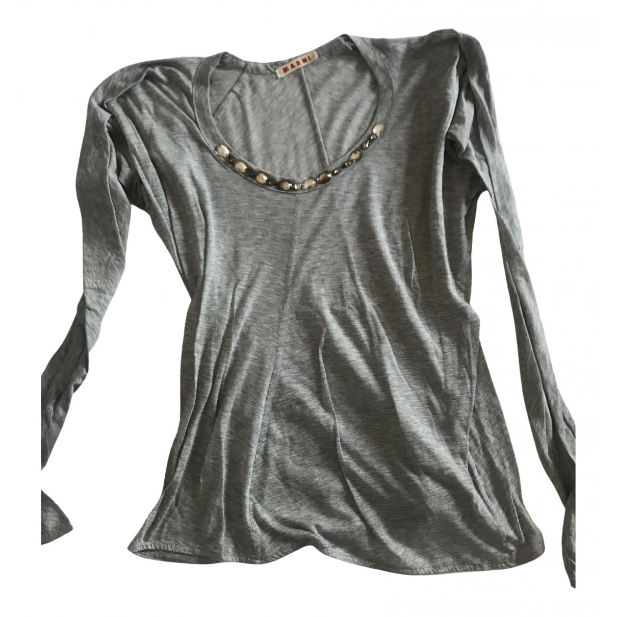 Marni - Top   pour femme en coton - gris