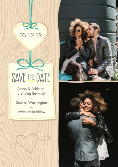 Save the Date Flat Matte Photo Paper Cards with Envelopes, 5x7, Card & Stationery -Carved in Wood Save the Date