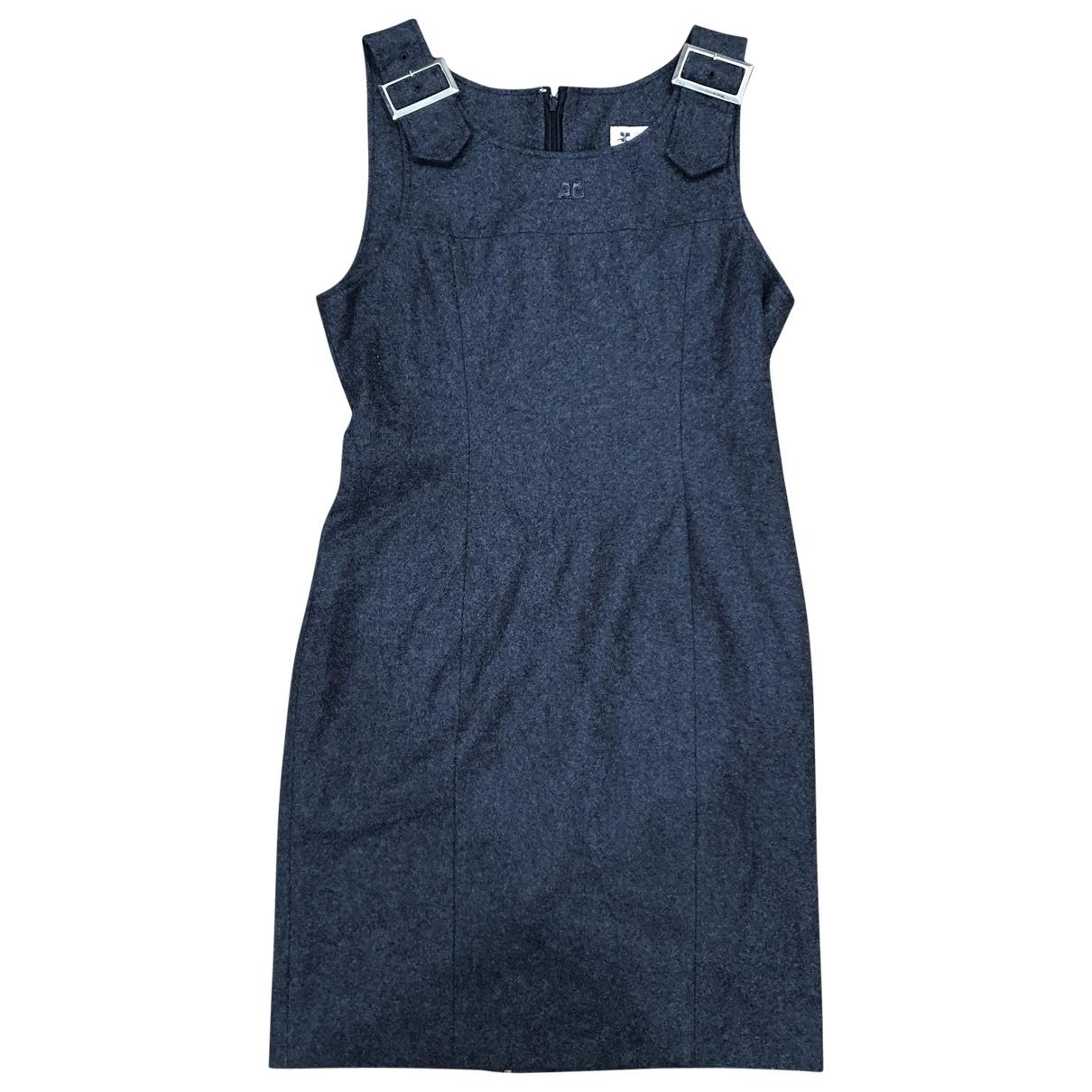 Courreges \N Kleid in  Grau Wolle