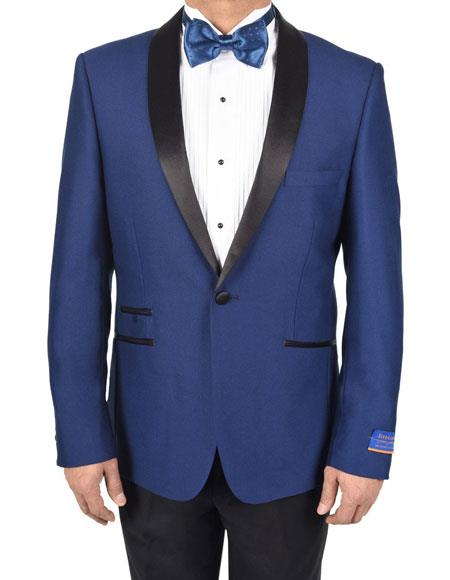 Mens Blue 150's Viscose Blend 1Button Tuxedo Side Vents Dinner Jacket