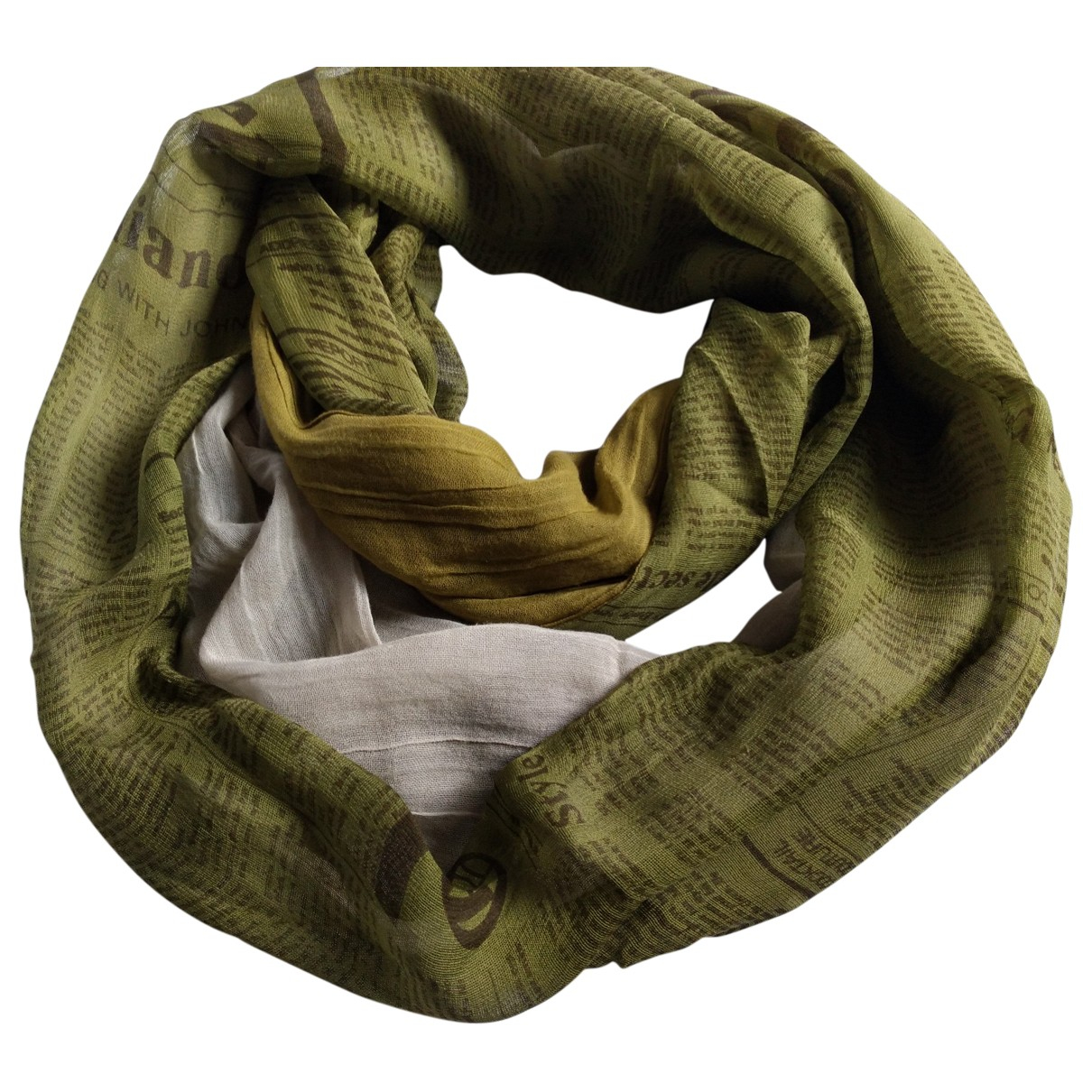 John Galliano \N Khaki Cotton scarf & pocket squares for Men \N