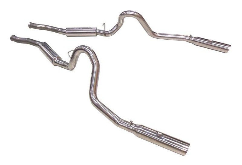 Pypes Exhaust SFM29V Catback Exhaust Split Rear Dual Exit 2.5-Inch Violator Muffler 3.5-Inch Polished Tips Stainless Steel Ford Mustang 1979-2004