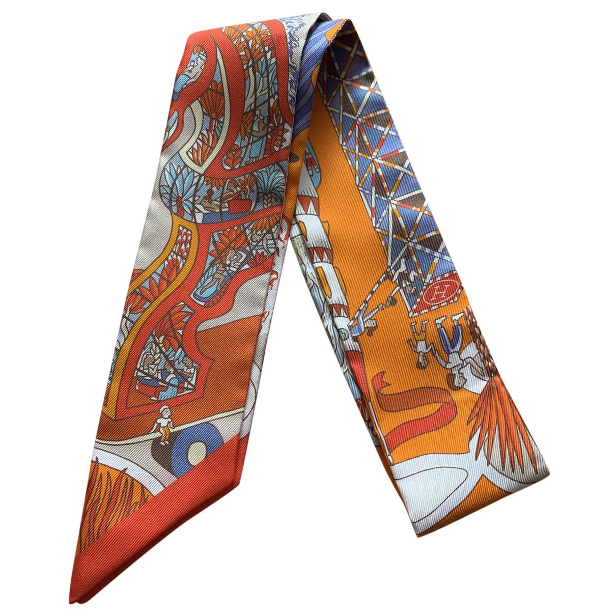 Hermès Twilly 86 Orange Silk scarf for Women N