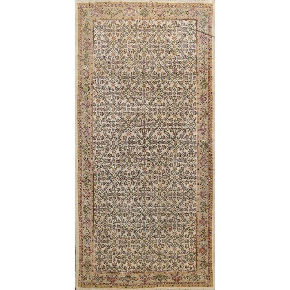 Antique Vegetable Dye Mahal Persian Area Rug Wool Handmade Carpet - 6'9