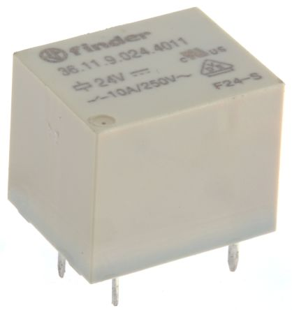 Finder , 24V dc Coil Non-Latching Relay SPDT, 10A Switching Current PCB Mount Single Pole