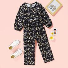Toddler Girls Allover Floral Peekaboo Jumpsuit