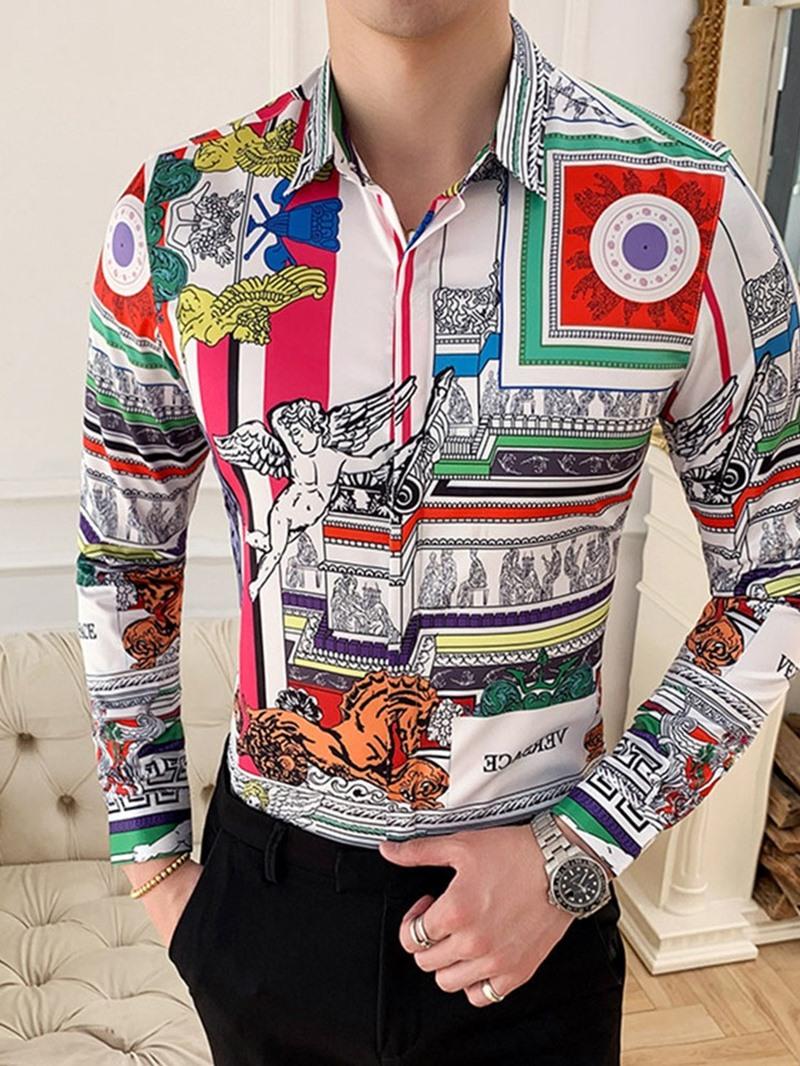 Ericdress Print Lapel England Slim Shirt