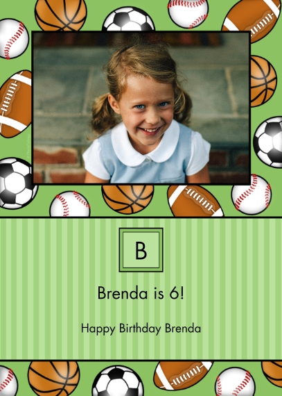 Kids Birthday Party Invites Mail-for-Me Premium 5x7 Folded Card , Card & Stationery -Sporty Monogram