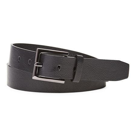 Mixit Hematite Buckle Leather Belt, Medium , Black