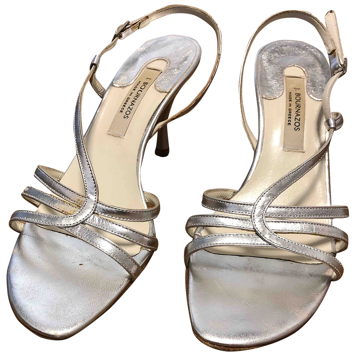 - Sandales   pour femme en cuir - argente