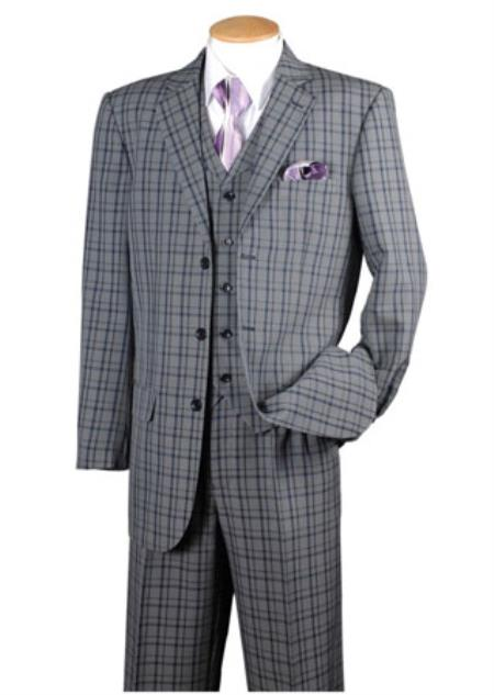Mens Navy 3 Piece Plaid Window Pane 3 button Vested Suits pants