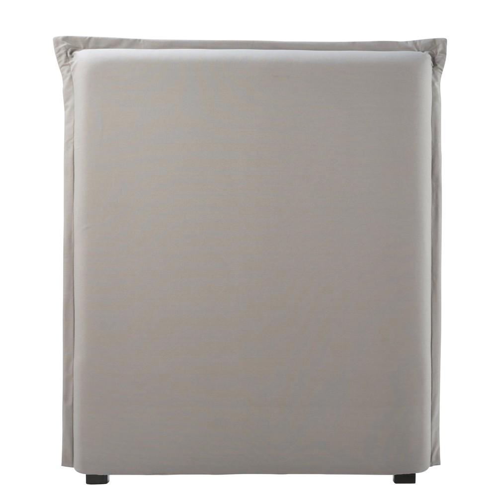 Bezug fuer Bettkopfteil aus grauer Baumwolle B90