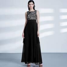 Lace Overlay Bodice Layered Prom Dress