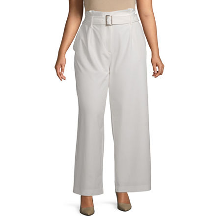 Worthington Womens Inverted Box Pleat Trouser - Plus, 16w , White