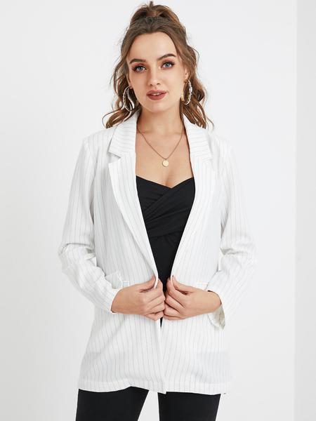 YOINS White Striped Lapel Collar Long Sleeves Blazer