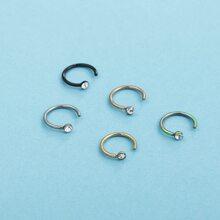 5pcs Rhinestone Decor Nose Ring