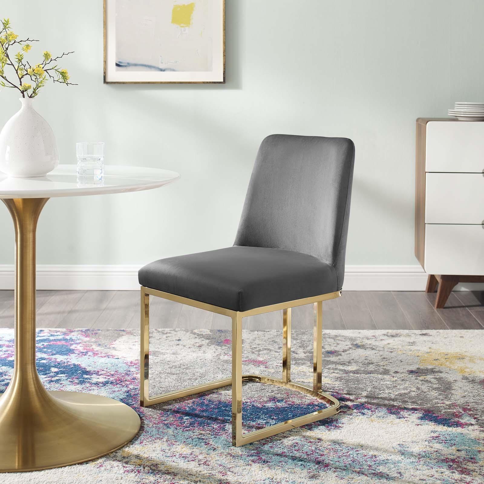 Amplify Sled Base Performance Velvet Dining Side Chair in Gold Gray