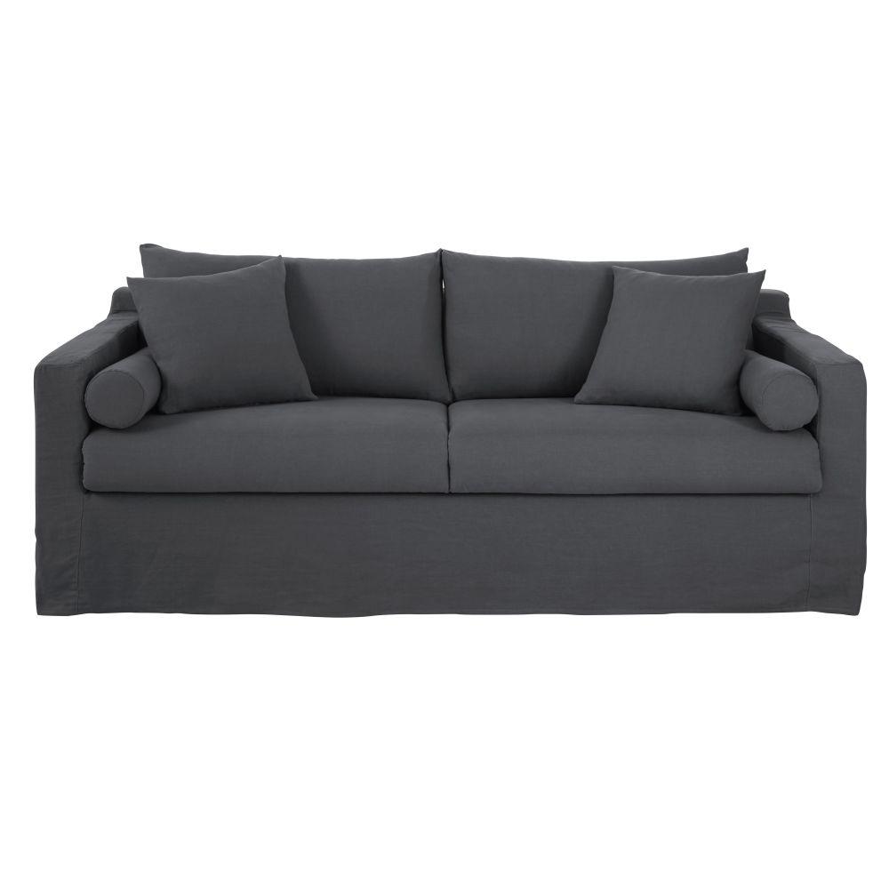 4-Sitzer-Schlafsofa mit anthrazitgrauem Leinenbezug Francisco