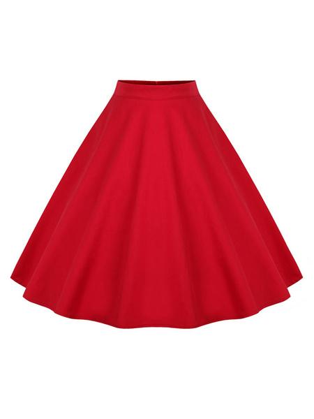 Milanoo Vintage Short Skirt Polka Dot Print High Waisted Women Skirt