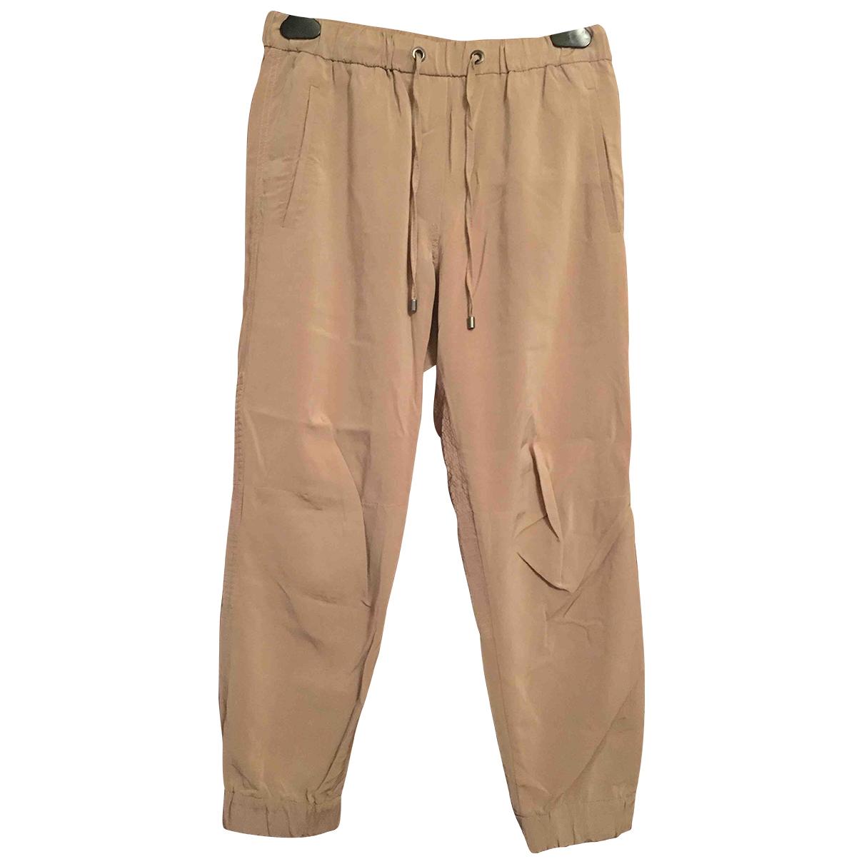 Brunello Cucinelli \N Pink Silk Trousers for Women 40 IT