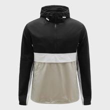 Mantel mit halbem Reissverschluss und Farbblock