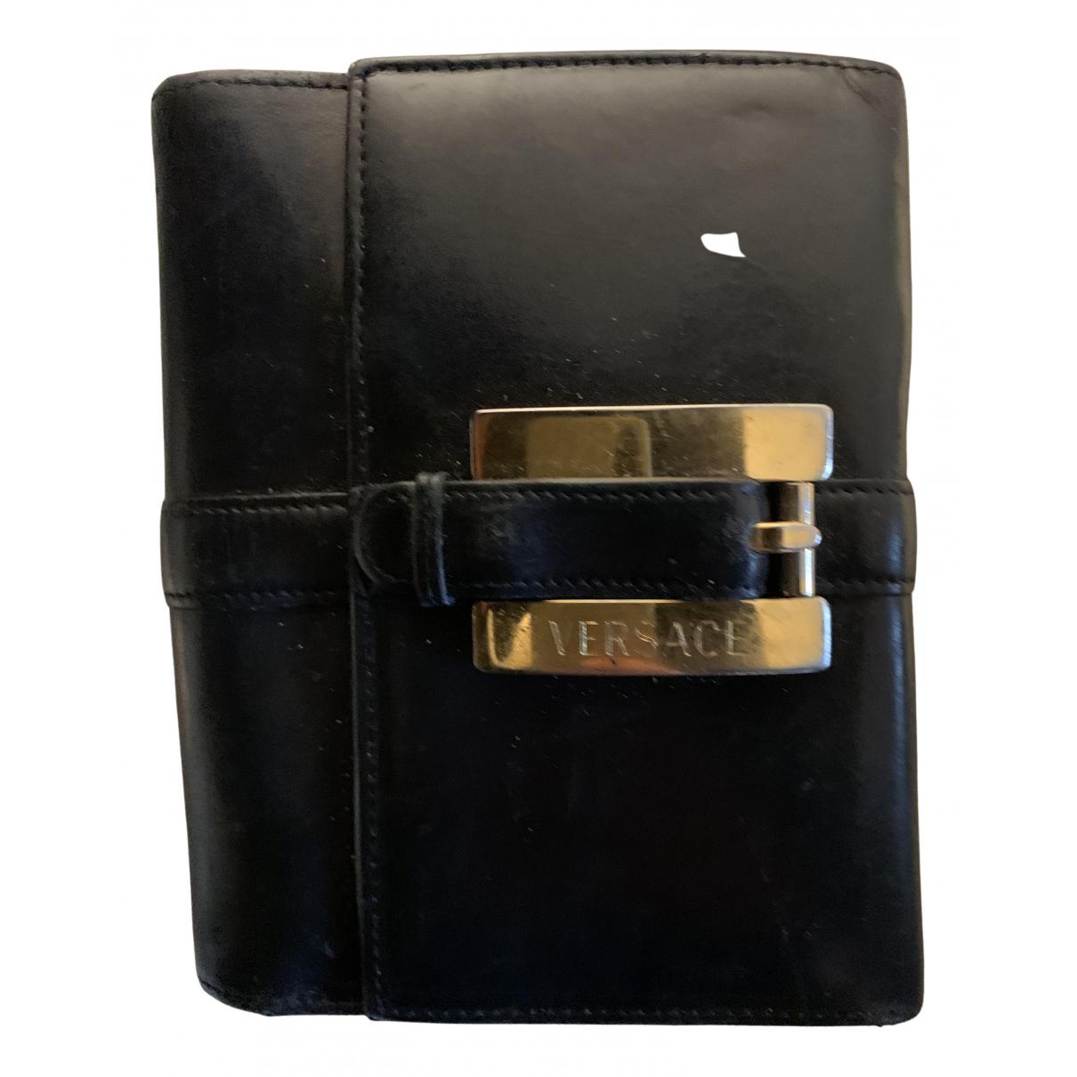 Versace - Portefeuille   pour femme en cuir - noir