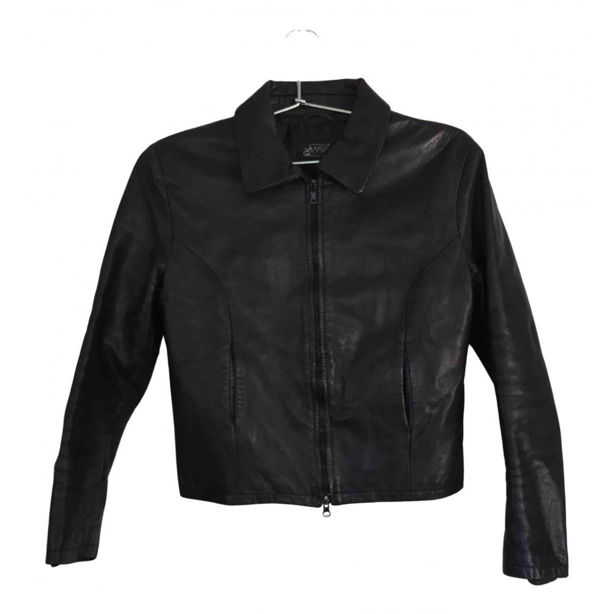 Non Signé / Unsigned Epaulettes Black Leather jacket for Women 36 FR