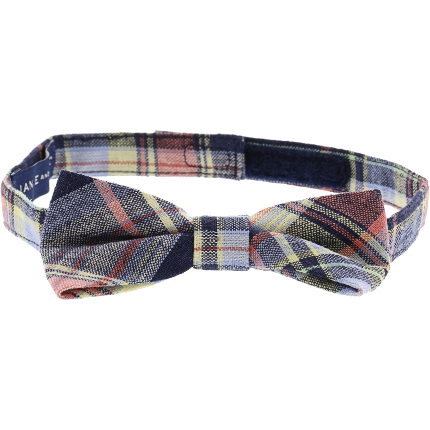 Janie And Jack Navy Plaid Linen Bowtie Bow Ty - 2-5