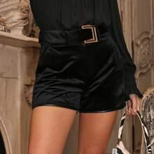 Self Buckle Belted Velvet Shorts