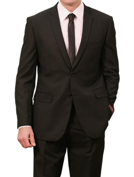 2 Button Black Front Closure Slim Fit Suit  Mens Cheap