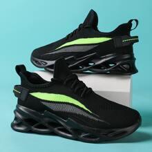 Men Lace Up Decor Color Block Sneakers