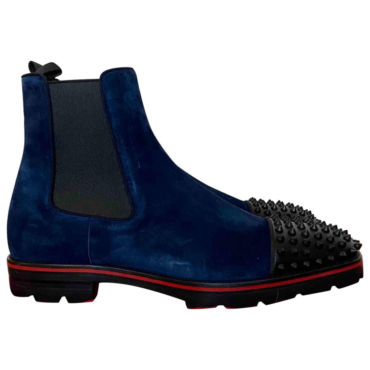 Christian Louboutin \N Stiefel in  Blau Veloursleder