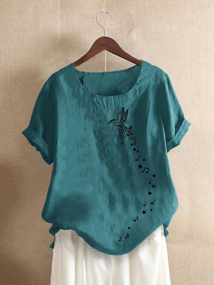 Bird Printed Short Sleeve O-Neck Overhead T-shirt