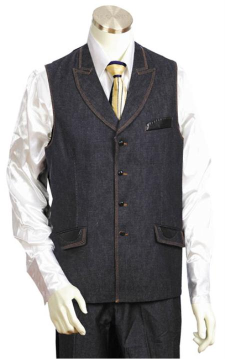 Mens Black 2pc Denim Vest Sets