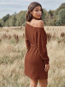 Drop Shoulder Belted Rib-knit Dress