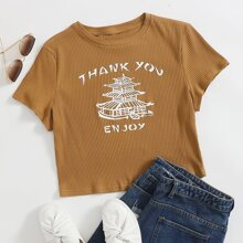 Rippenstrick T-Shirt mit Buchstaben & Grafik Muster