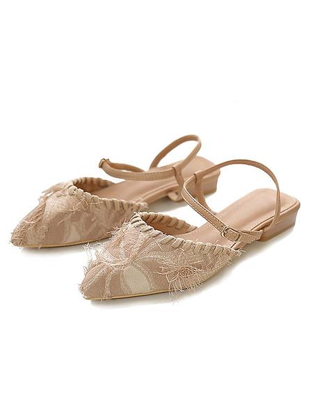 Milanoo Mulas y Zuecos albaricoque punta estrecha con cierre de tiras textiles plana superior zapatos de mujer de verano Sadals