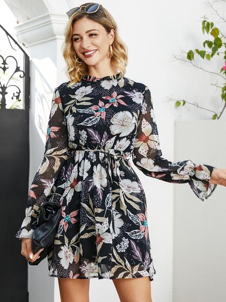 YOINS Black Belt Design Floral Print Round Neck Long Sleeves Dress