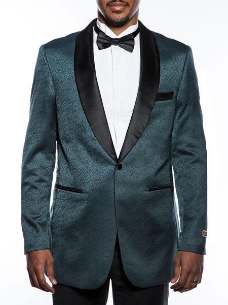 Mens Fancy Designed Teal Shawl Lapel Tuxedo Blazer