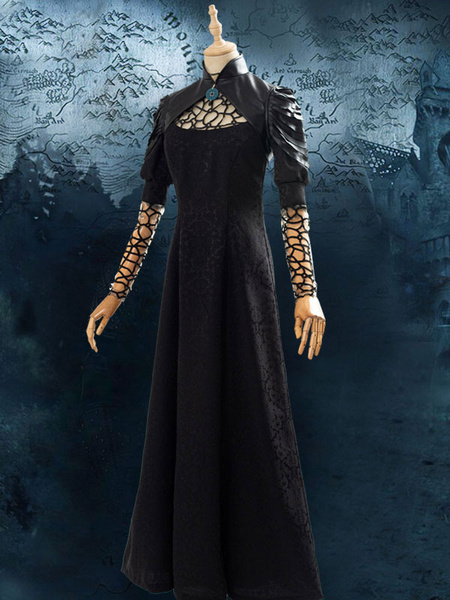 Milanoo The Witcher Netflix Yennefer Black Dress Halloween Cosplay Costume