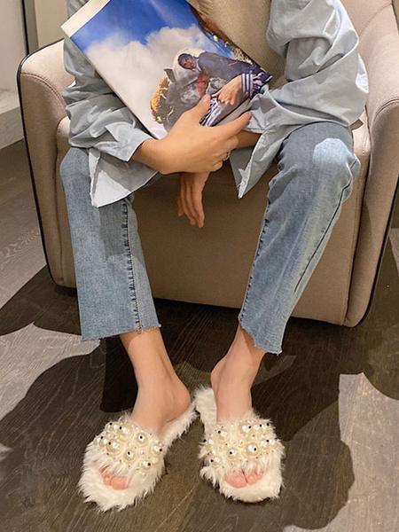 Milanoo Zapatillas de piel sintetica Mujer Punta abierta Detalle de perlas Diapositivas de invierno