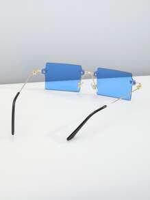 Maenner Randlose Sonnenbrille mit quadratischem Rahmen