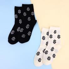 2pairs Dollar Pattern Socks