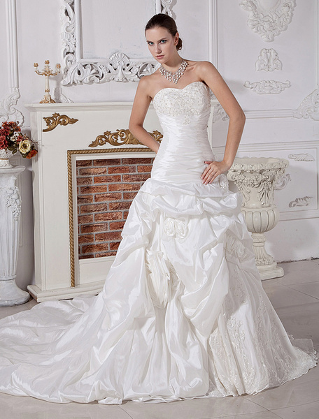 Milanoo Wedding Dresses Strapless Ivory Taffeta Cathedral Train Sweetheart Neck Beading Bridal Dress